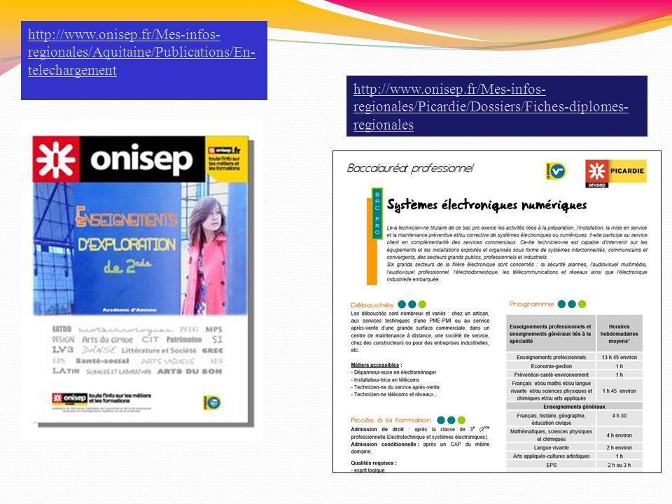http://www.onisep.fr/Mes-infos- regionales/Aquitaine/Publications/En- telechargement http://www.onisep.fr/Mes-infos- regionales/Picardie/Dossiers/Fich