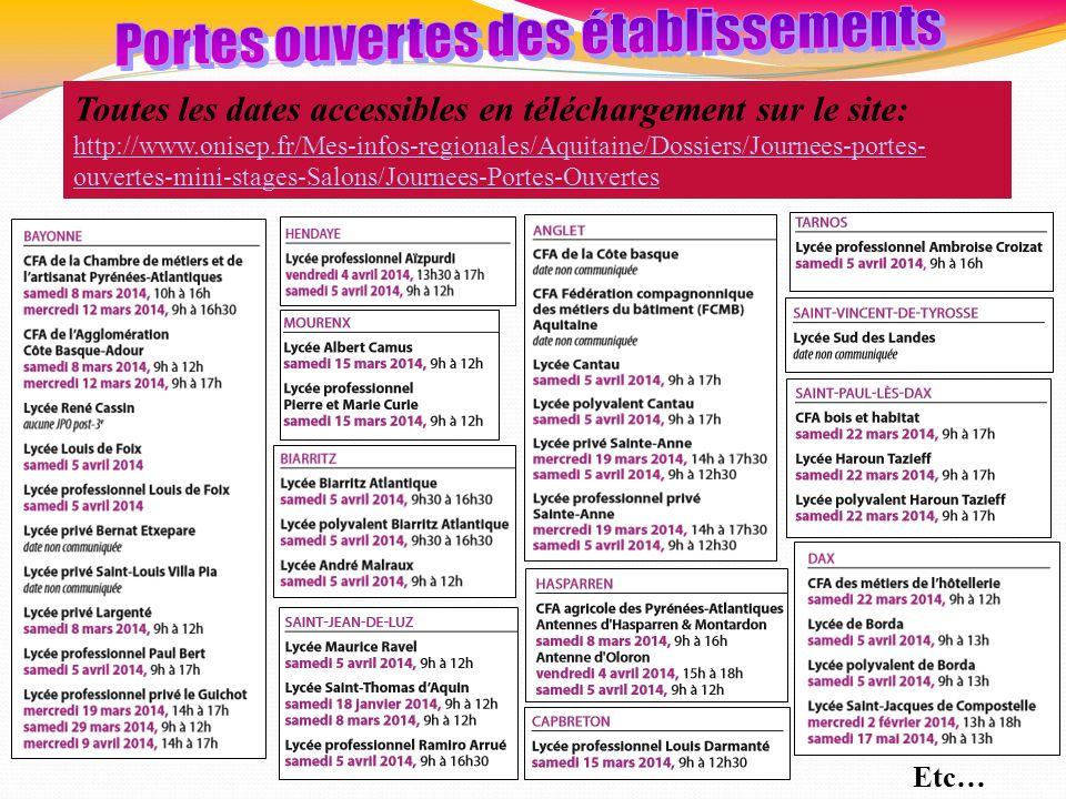 Toutes les dates accessibles en téléchargement sur le site: http://www.onisep.fr/Mes-infos-regionales/Aquitaine/Dossiers/Journees-portes- ouvertes-min