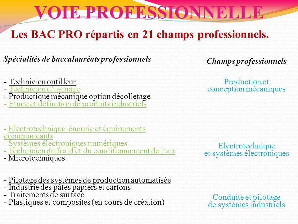 VOIE PROFESSIONNELLE Les BAC PRO répartis en 21 champs professionnels. Spécialités de baccalauréats professionnels Champs professionnels - Technicien