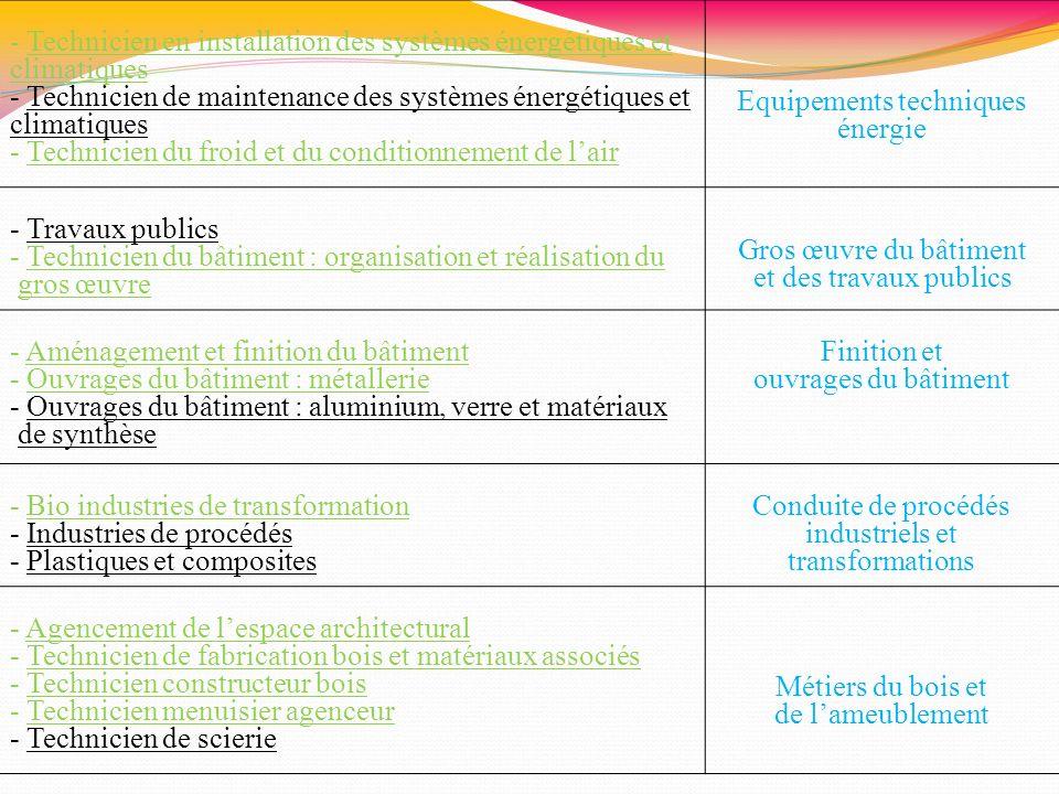 - Technicien en installation des systèmes énergétiques et climatiques - Technicien de maintenance des systèmes énergétiques et climatiques - Technicie