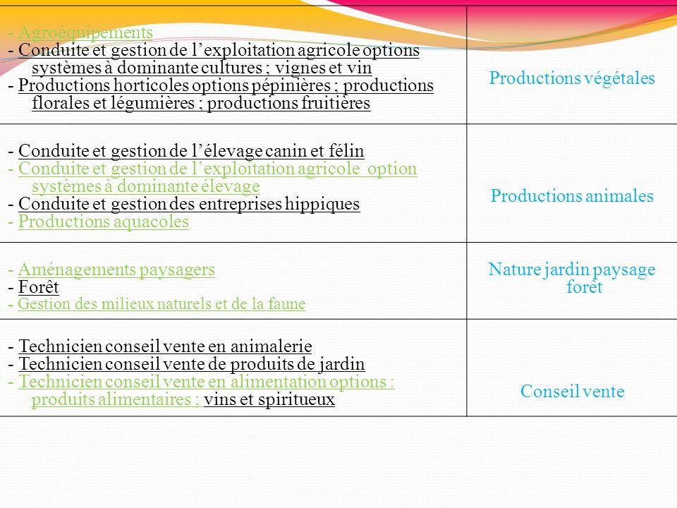 - Agroéquipements - Conduite et gestion de lexploitation agricole options systèmes à dominante cultures ; vignes et vin - Productions horticoles optio