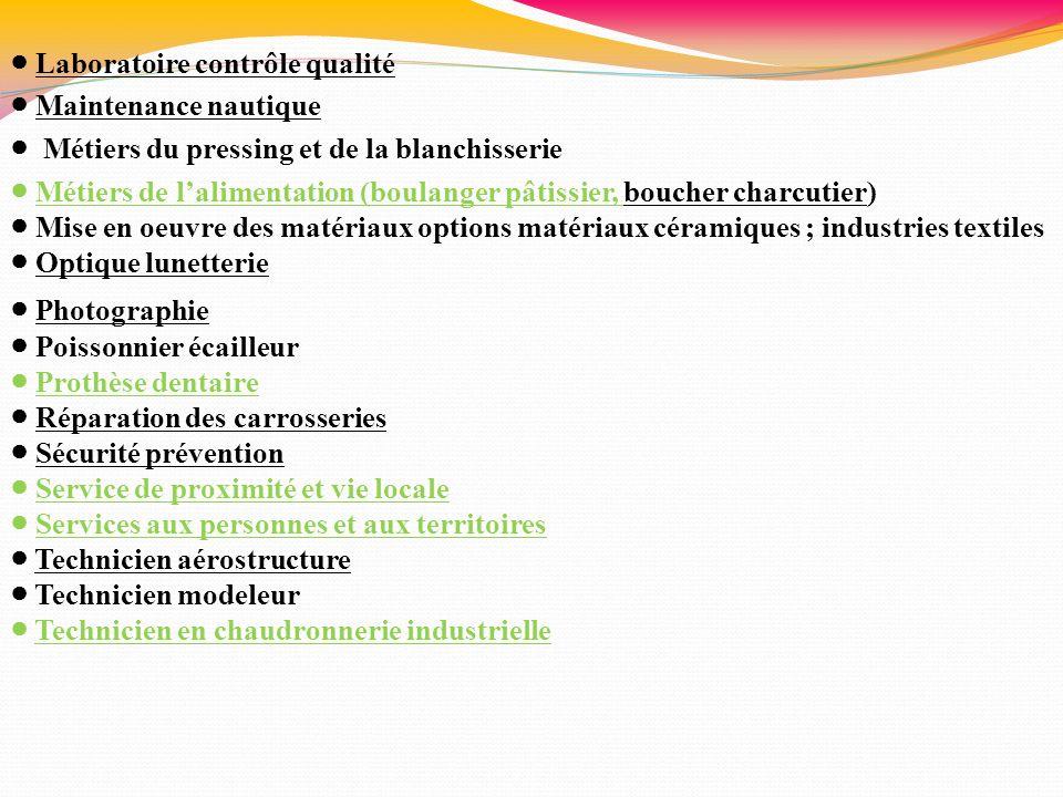 Laboratoire contrôle qualité Maintenance nautique Métiers du pressing et de la blanchisserie Métiers de lalimentation (boulanger pâtissier, boucher ch
