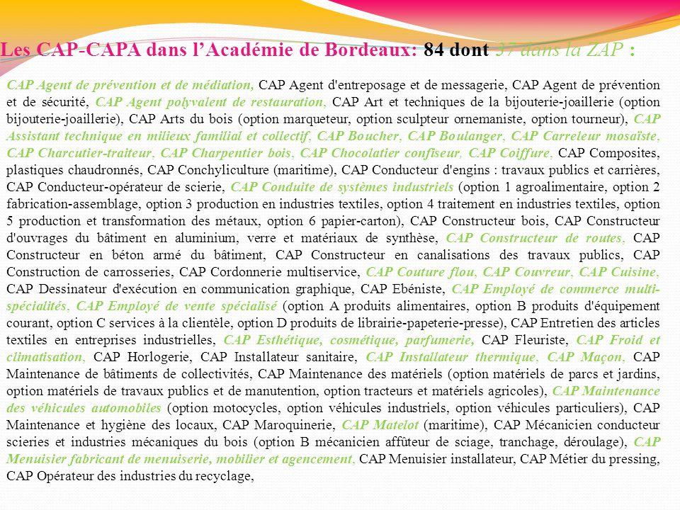 Les CAP-CAPA dans lAcadémie de Bordeaux: 84 dont 37 dans la ZAP : CAP Agent de prévention et de médiation, CAP Agent d'entreposage et de messagerie, C