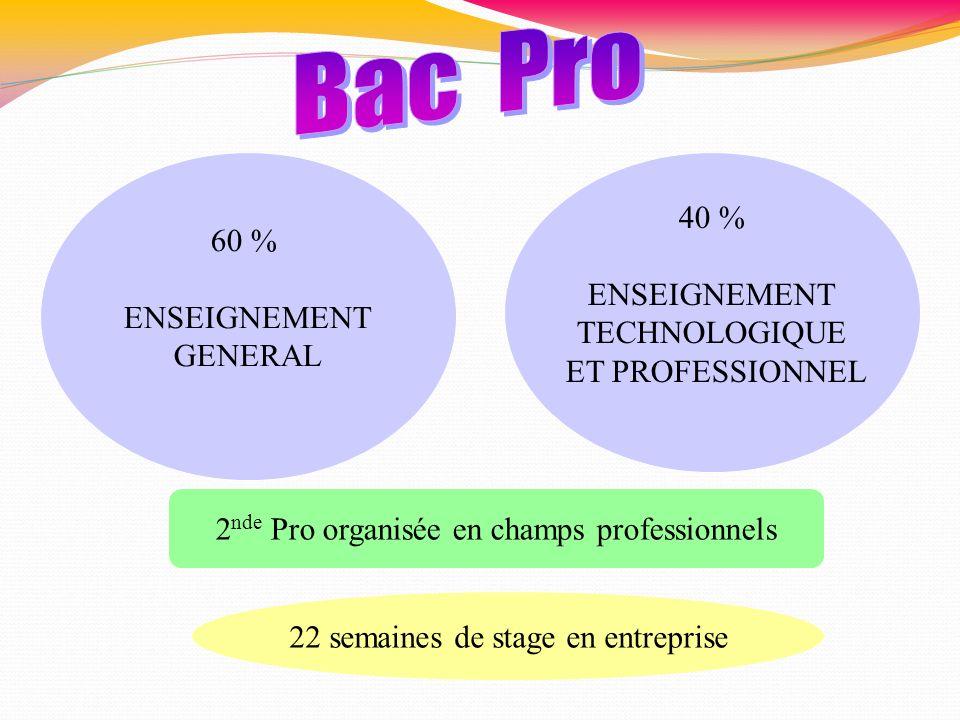 2 nde Pro organisée en champs professionnels 22 semaines de stage en entreprise 60 % ENSEIGNEMENT GENERAL 40 % ENSEIGNEMENT TECHNOLOGIQUE ET PROFESSIO