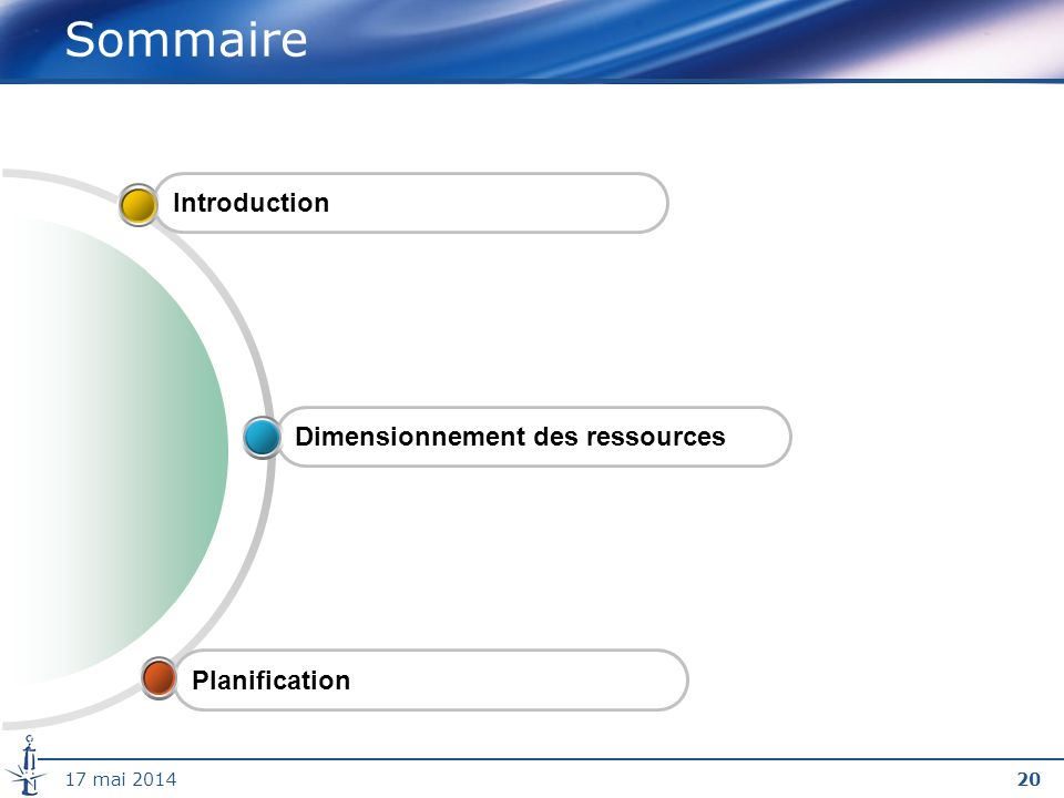 2017 mai 2014 Sommaire IntroductionPlanification Dimensionnement des ressources