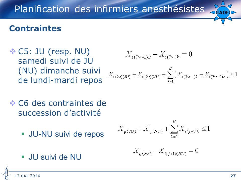 2717 mai 2014 Planification des infirmiers anesthésistes Contraintes C5: JU (resp.