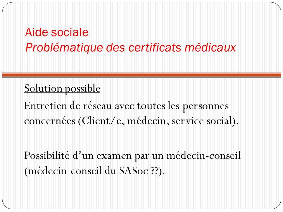 Aide sociale Problématique des certificats médicaux Solution possible Entretien de réseau avec toutes les personnes concernées (Client/e, médecin, ser