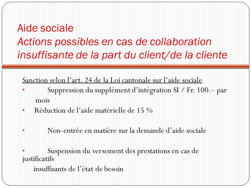 Aide sociale Actions possibles en cas de collaboration insuffisante de la part du client/de la cliente Sanction selon lart. 24 de la Loi cantonale sur