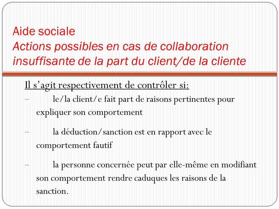 Aide sociale Actions possibles en cas de collaboration insuffisante de la part du client/de la cliente Il sagit respectivement de contrôler si: le/la
