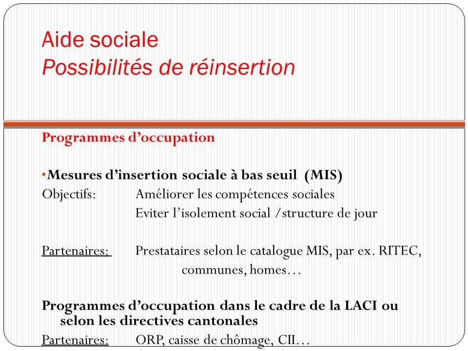 Aide sociale Possibilités de réinsertion Programmes doccupation Mesures dinsertion sociale à bas seuil (MIS) Objectifs: Améliorer les compétences soci