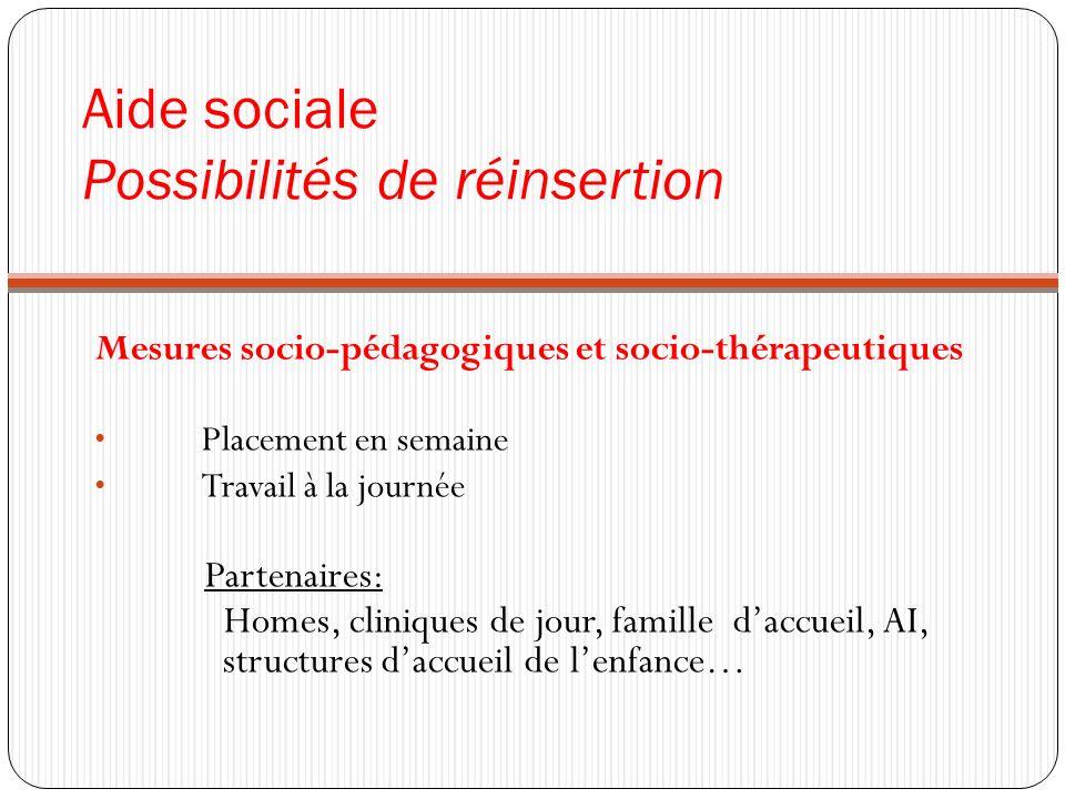 Aide sociale Possibilités de réinsertion Mesures socio-pédagogiques et socio-thérapeutiques Placement en semaine Travail à la journée Partenaires: Hom