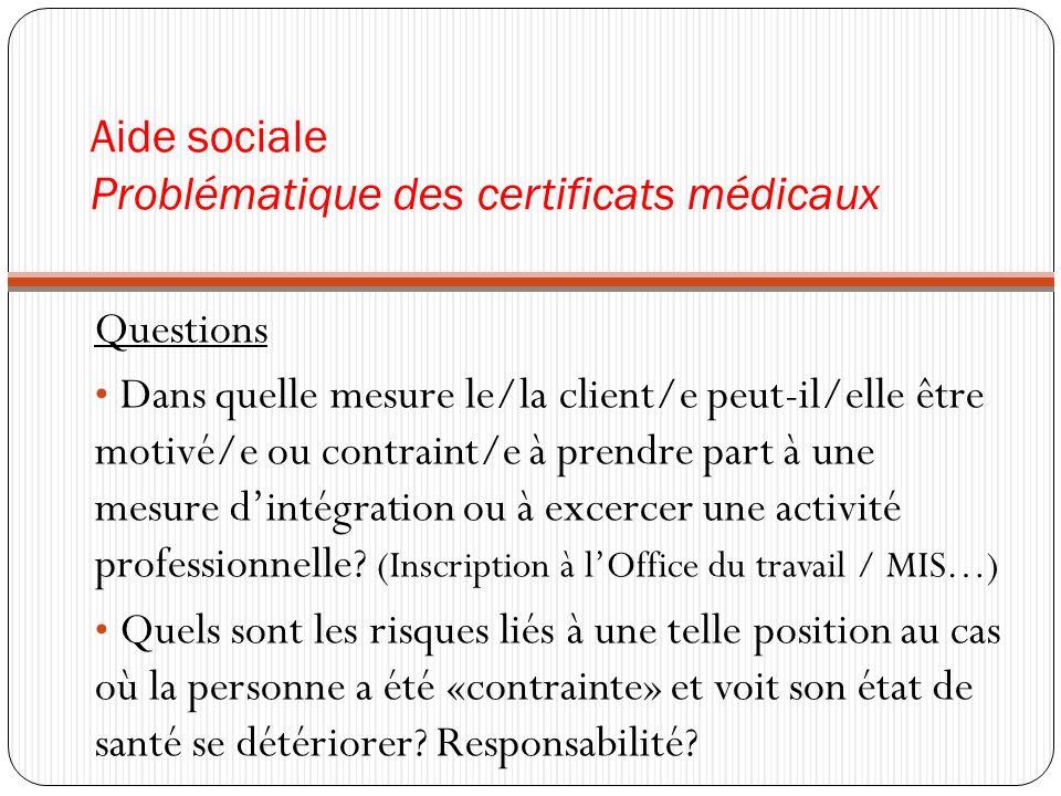 Aide sociale Problématique des certificats médicaux Solution possible Entretien de réseau avec toutes les personnes concernées (Client/e, médecin, service social).