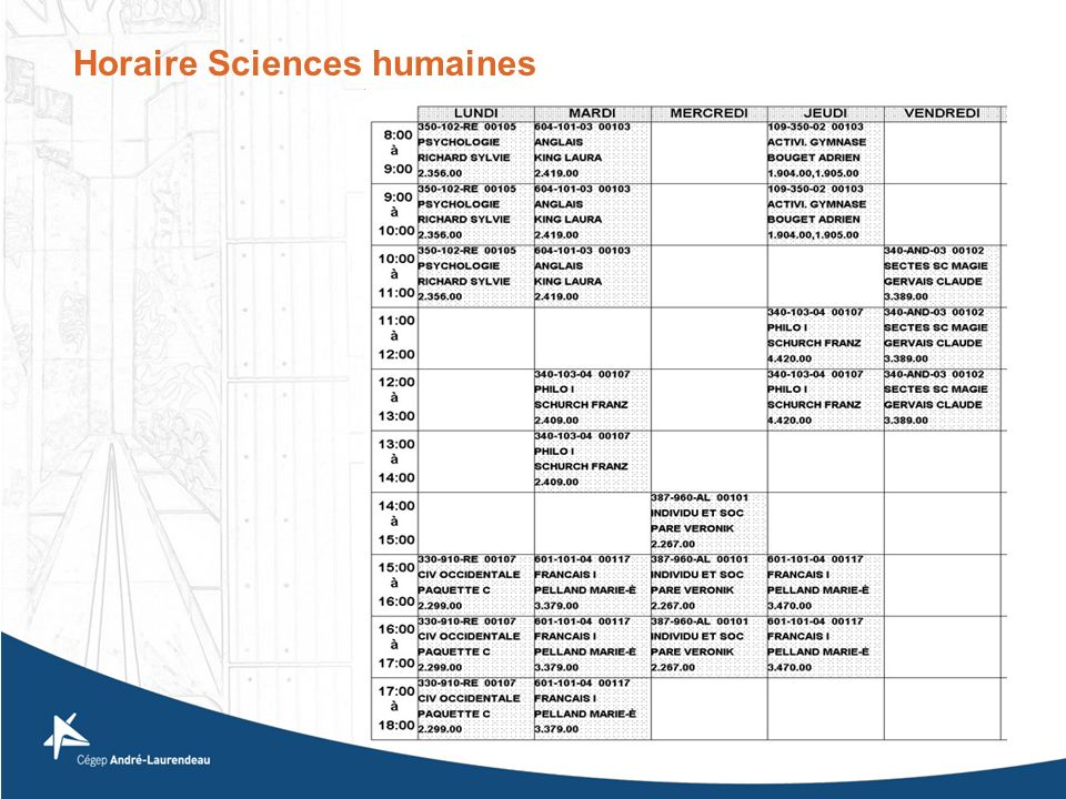 Horaire Sciences humaines