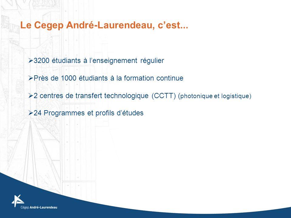 Le Cegep André-Laurendeau, cest... 3200 étudiants à lenseignement régulier Près de 1000 étudiants à la formation continue 2 centres de transfert techn