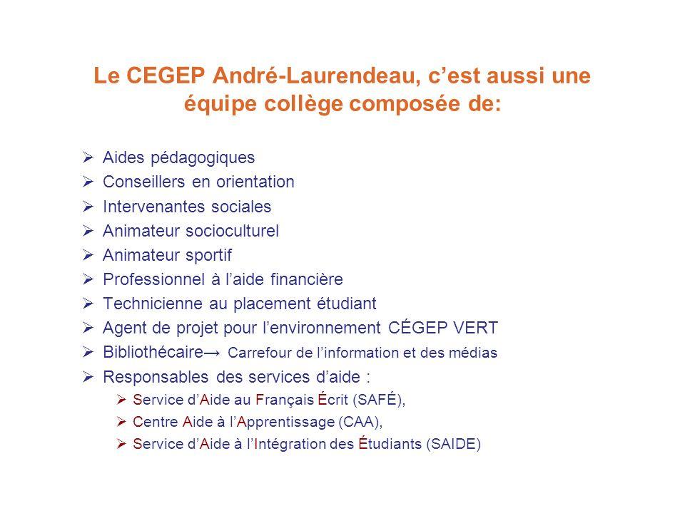 Le CEGEP André-Laurendeau, cest aussi une équipe collège composée de: Aides pédagogiques Conseillers en orientation Intervenantes sociales Animateur s