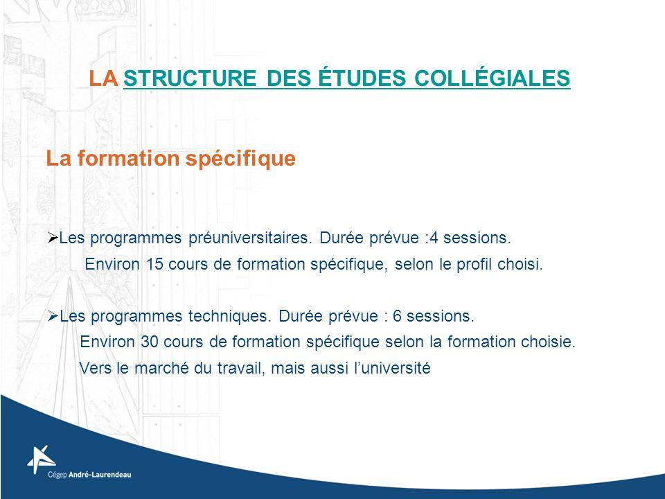 Les programmes préuniversitaires. Durée prévue :4 sessions. Environ 15 cours de formation spécifique, selon le profil choisi. Les programmes technique