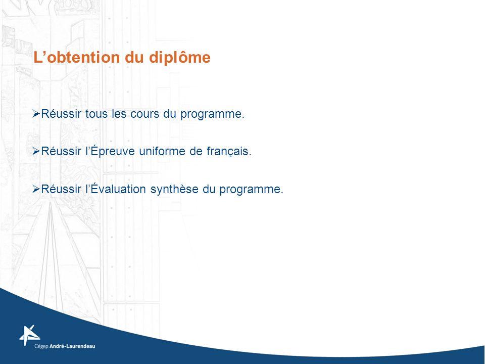 Réussir tous les cours du programme. Réussir lÉpreuve uniforme de français. Réussir lÉvaluation synthèse du programme. Lobtention du diplôme