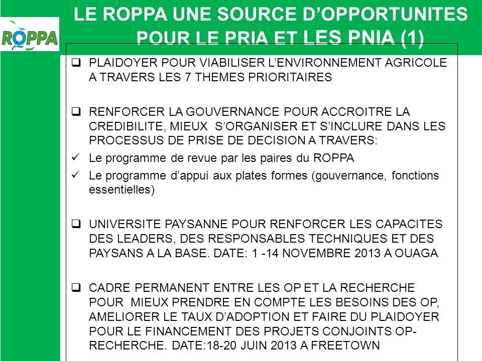 LE ROPPA UNE SOURCE DOPPORTUNITES POUR LE PRIA ET LES PNIA (1) PLAIDOYER POUR VIABILISER LENVIRONNEMENT AGRICOLE A TRAVERS LES 7 THEMES PRIORITAIRES R