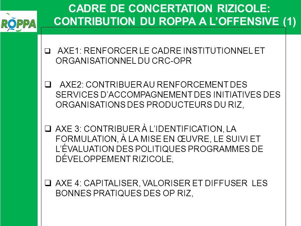 CADRE DE CONCERTATION RIZICOLE: CONTRIBUTION DU ROPPA A LOFFENSIVE (2) ACTIVITES 2013 MISE EN PLACE DUNE CELLULE TECHNIQUE AU SEIN DU SECRETARIAT TECHNIQUE APPUI AUX CADRES NATIONAUX PRODUIRE LES DOCUMENTS DE PLAIDOYER NOTAMMENT SUR LE TEC ET SUR LA PLACE DE LECONOMIE RIZICOLE FORMATION DES LEADERS DANS LE CADRE DE LUNIVERSITE VOYAGE DETUDE DANS LA REGION ET EN THAILANDE