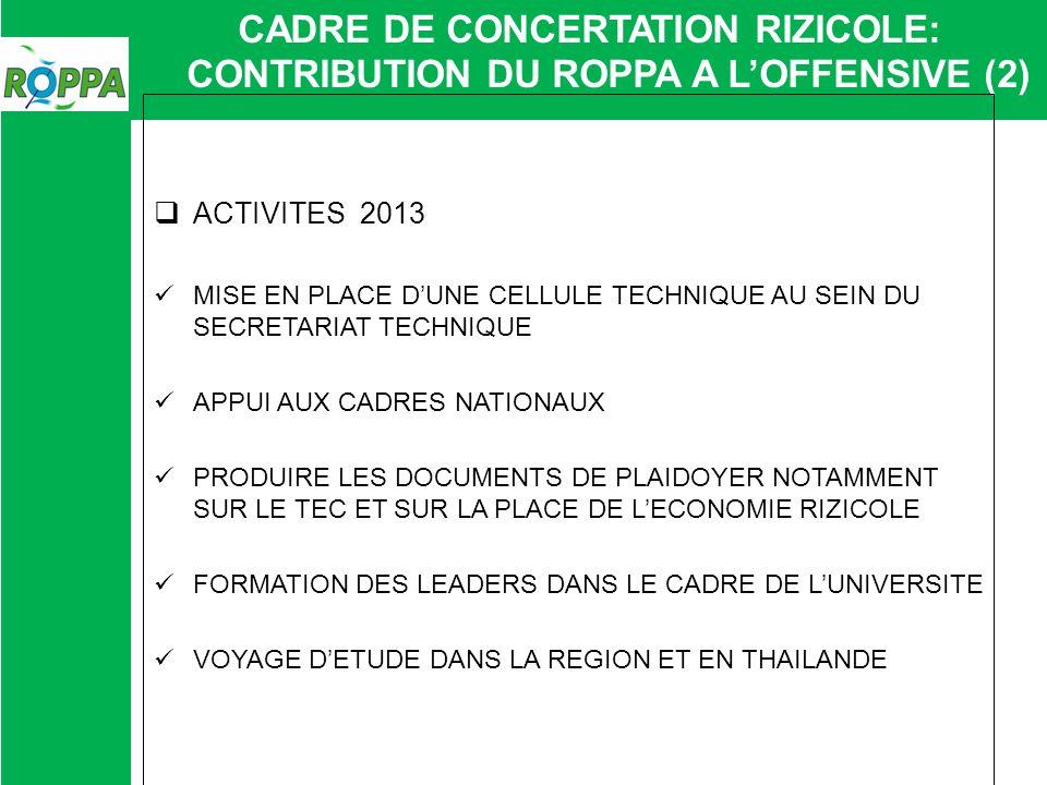 CADRE DE CONCERTATION RIZICOLE: CONTRIBUTION DU ROPPA A LOFFENSIVE (2) ACTIVITES 2013 MISE EN PLACE DUNE CELLULE TECHNIQUE AU SEIN DU SECRETARIAT TECH