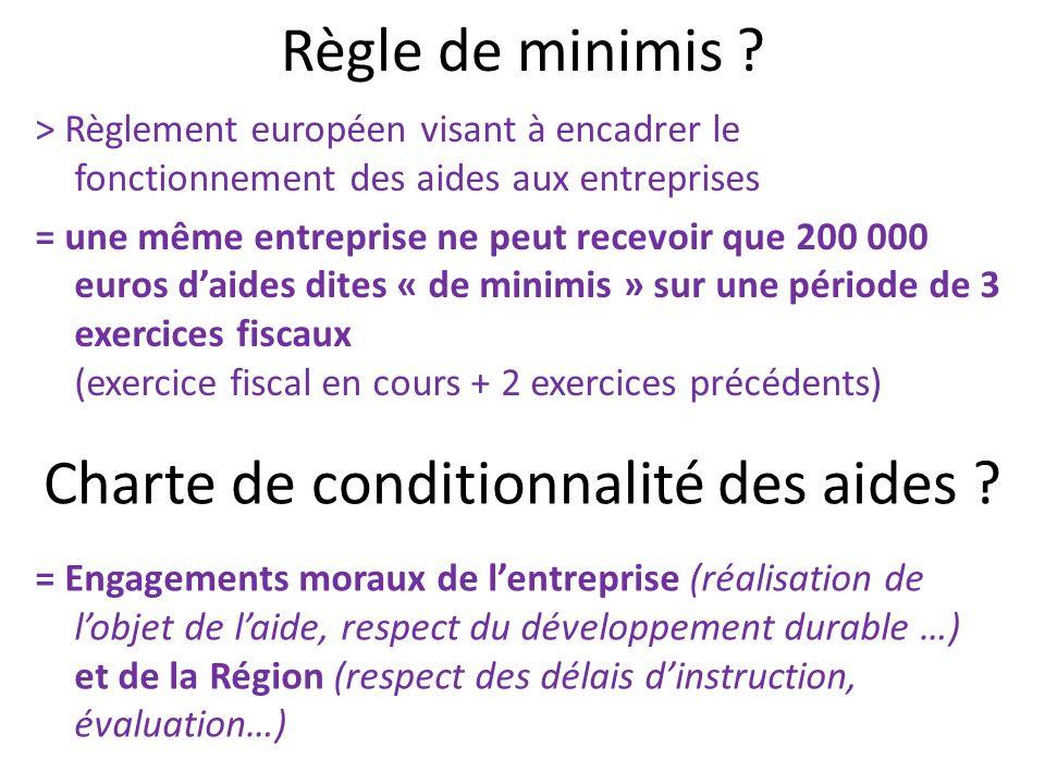 Règle de minimis ? > Règlement européen visant à encadrer le fonctionnement des aides aux entreprises = une même entreprise ne peut recevoir que 200 0