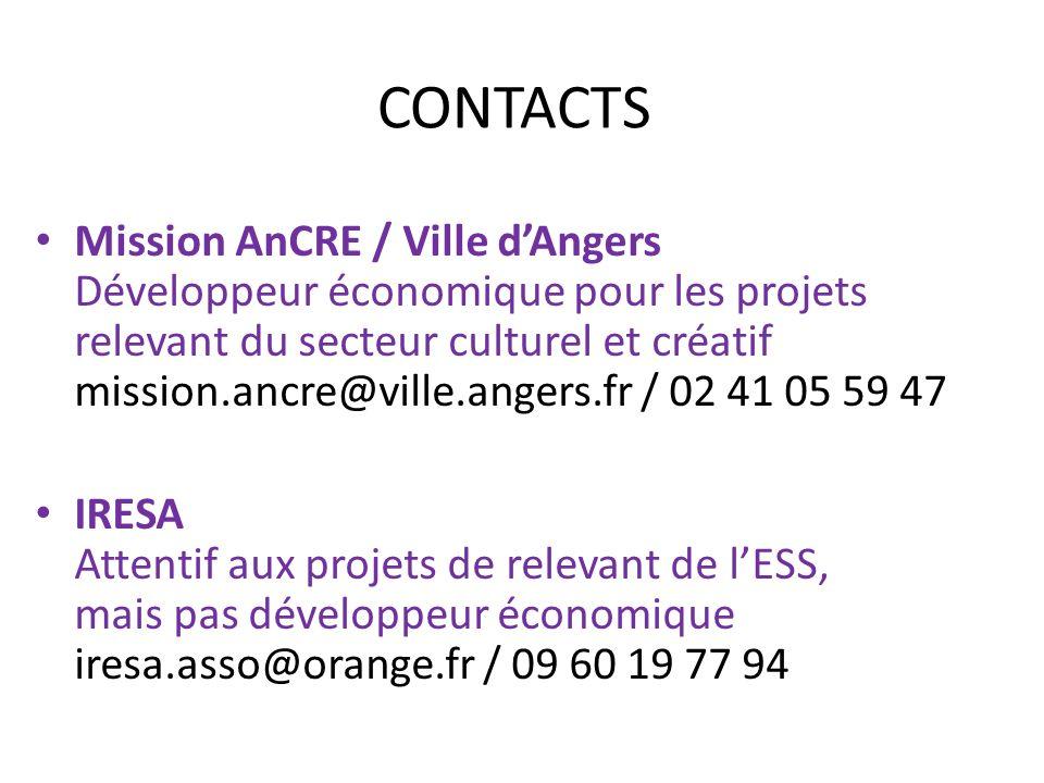 CONTACTS Mission AnCRE / Ville dAngers Développeur économique pour les projets relevant du secteur culturel et créatif mission.ancre@ville.angers.fr /