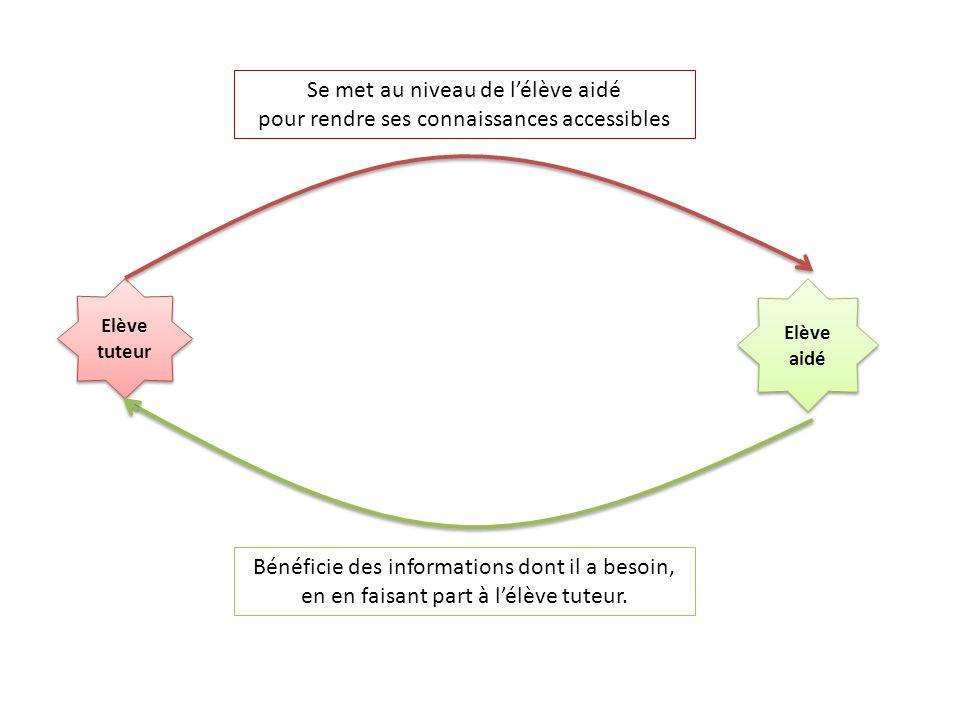 Elève tuteur Elève aidé Se met au niveau de lélève aidé pour rendre ses connaissances accessibles Bénéficie des informations dont il a besoin, en en f
