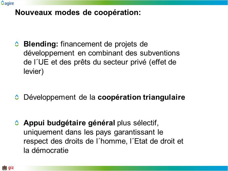 Nouveaux modes de coopération: Blending: financement de projets de développement en combinant des subventions de l´UE et des prêts du secteur privé (e