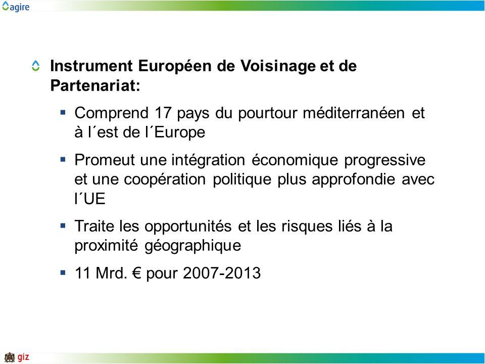 Instrument Européen de Voisinage et de Partenariat: Comprend 17 pays du pourtour méditerranéen et à l´est de l´Europe Promeut une intégration économiq