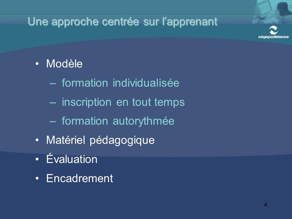 4 Modèle – formation individualisée – inscription en tout temps – formation autorythmée Matériel pédagogique Évaluation Encadrement Une approche centrée sur lapprenant