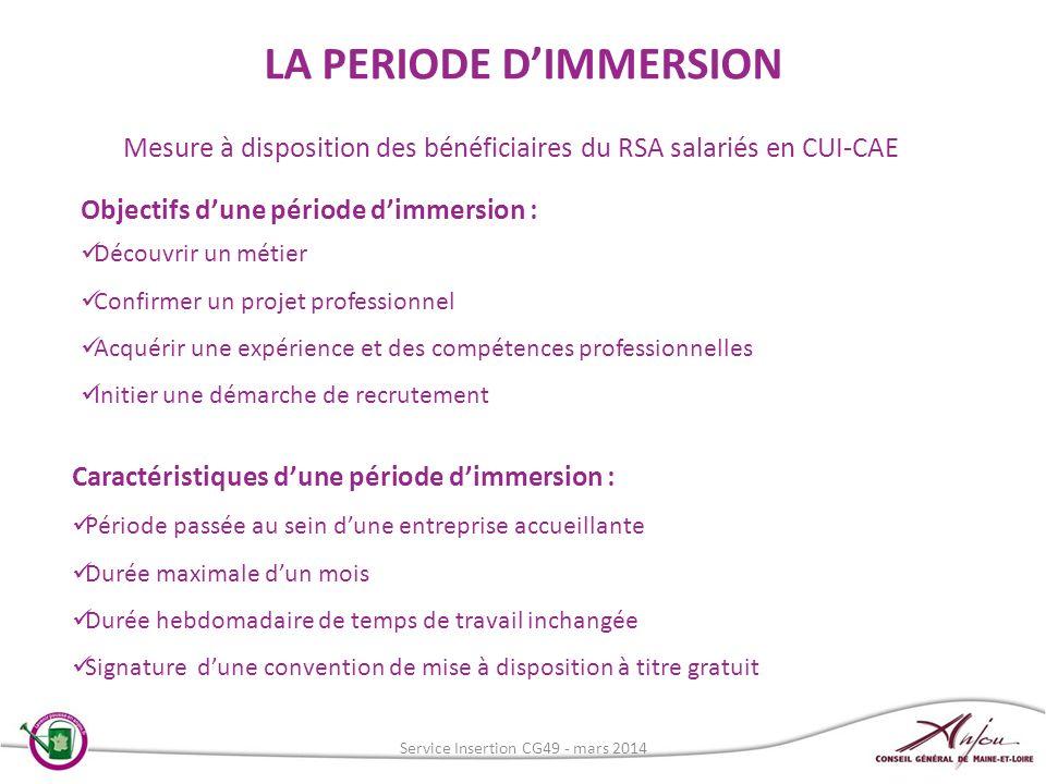 Mesure à disposition des bénéficiaires du RSA salariés en CUI-CAE Objectifs dune période dimmersion : Découvrir un métier Confirmer un projet professi