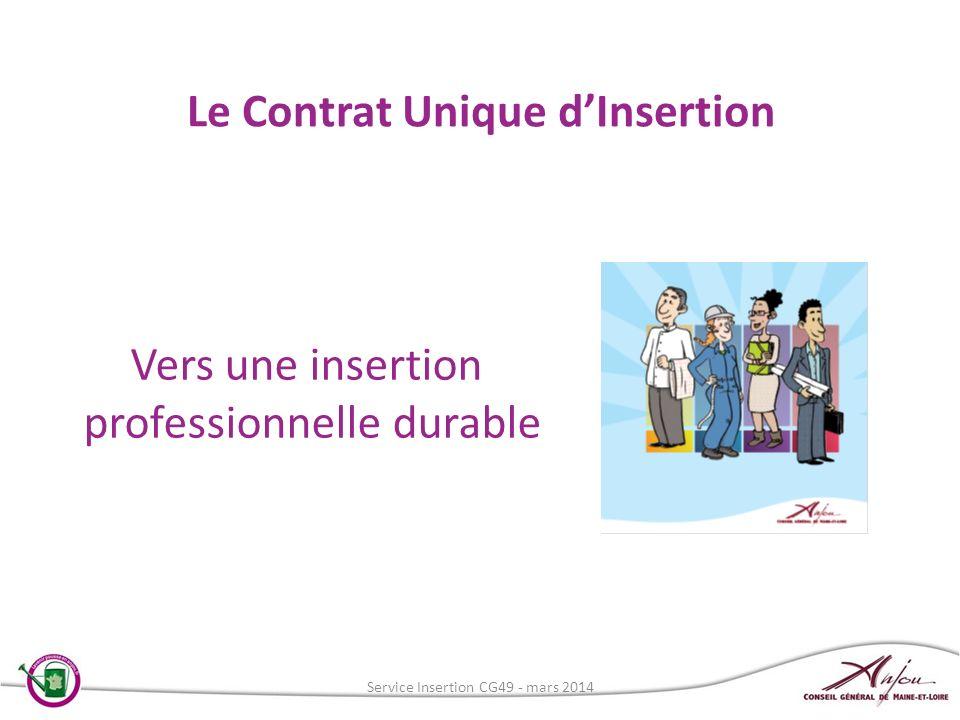 Le Contrat Unique dInsertion Vers une insertion professionnelle durable Service Insertion CG49 - mars 2014