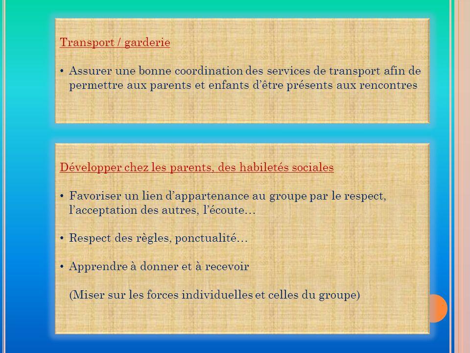 Transport / garderie Assurer une bonne coordination des services de transport afin de permettre aux parents et enfants dêtre présents aux rencontres D