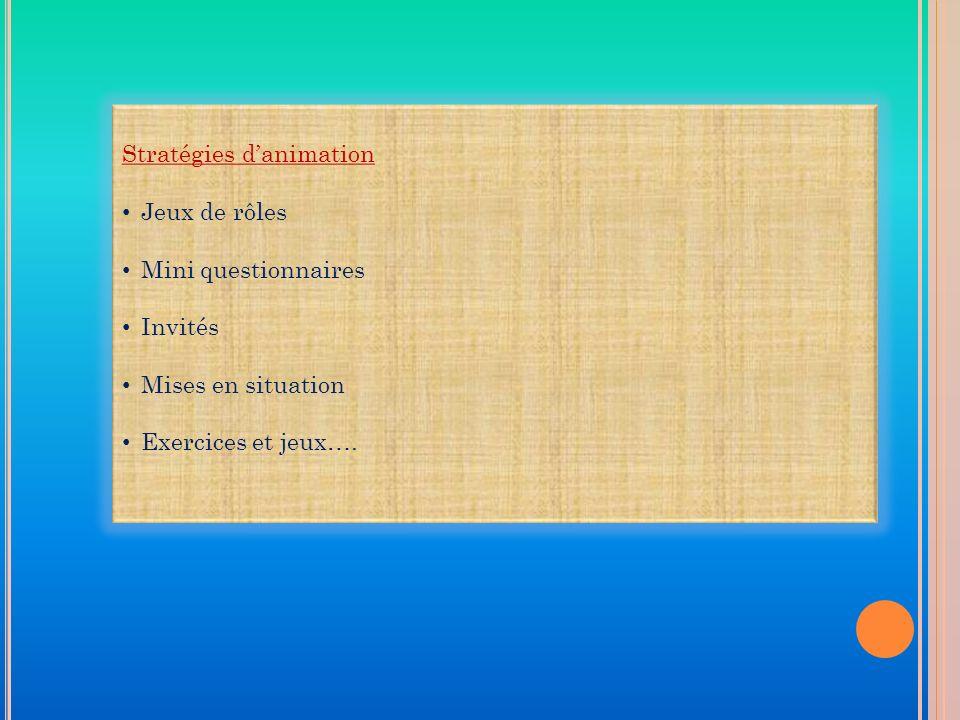 Stratégies danimation Jeux de rôles Mini questionnaires Invités Mises en situation Exercices et jeux….