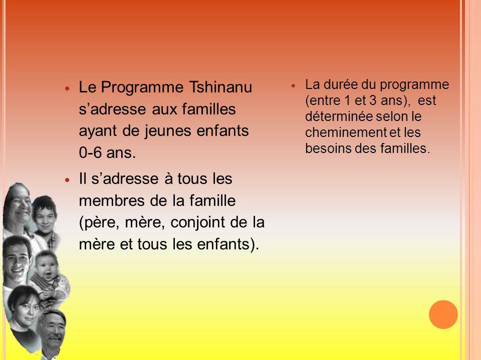 Le Programme Tshinanu sadresse aux familles ayant de jeunes enfants 0-6 ans. Il sadresse à tous les membres de la famille (père, mère, conjoint de la