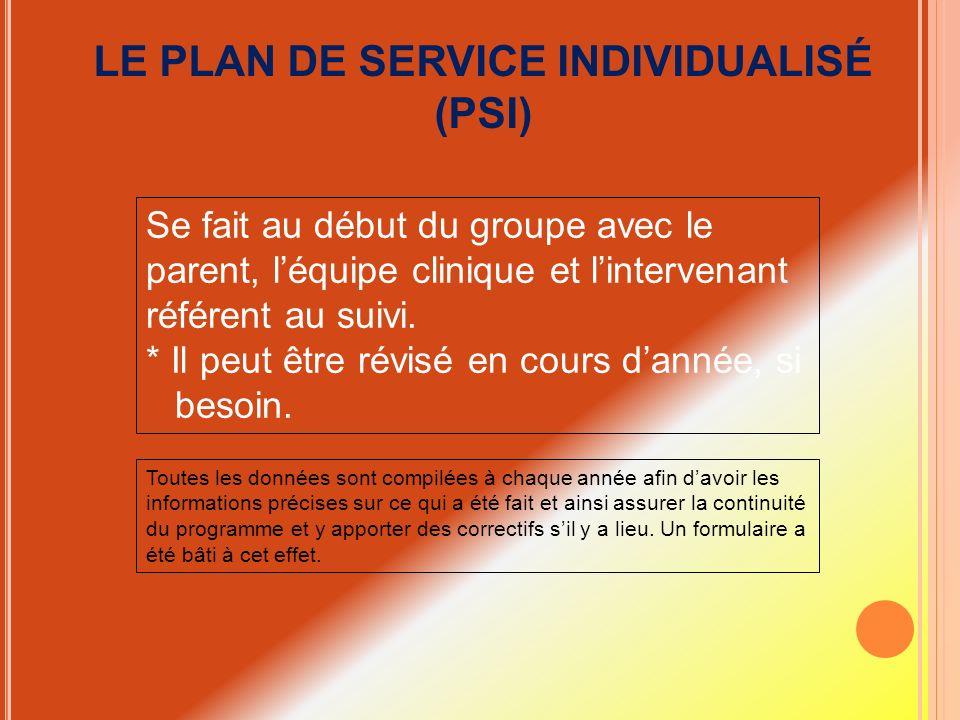 LE PLAN DE SERVICE INDIVIDUALISÉ (PSI) Se fait au début du groupe avec le parent, léquipe clinique et lintervenant référent au suivi. * Il peut être r
