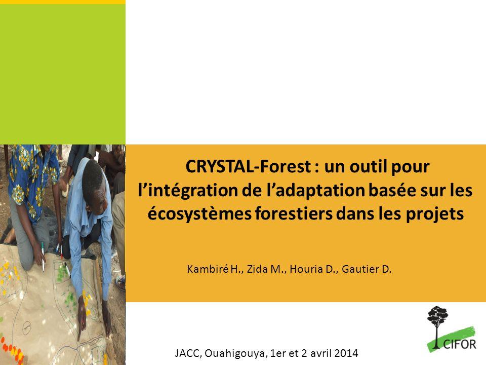CRYSTAL-Forest : un outil pour lintégration de ladaptation basée sur les écosystèmes forestiers dans les projets JACC, Ouahigouya, 1er et 2 avril 2014