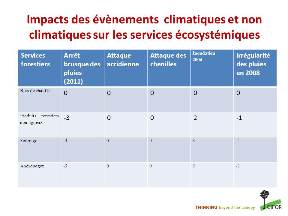 THINKING beyond the canopy Impacts des évènements climatiques et non climatiques sur les services écosystémiques Services forestiers Arrêt brusque des