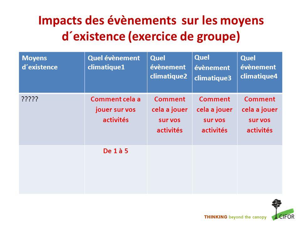 THINKING beyond the canopy Impacts des évènements sur les moyens d´existence (exercice de groupe) Moyens d´existence Quel évènement climatique1 Quel é