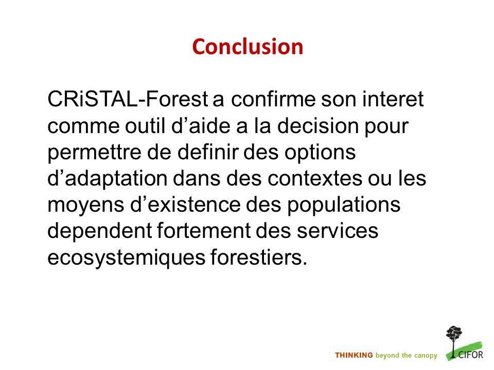 THINKING beyond the canopy Conclusion CRiSTAL-Forest a confirme son interet comme outil daide a la decision pour permettre de definir des options dada