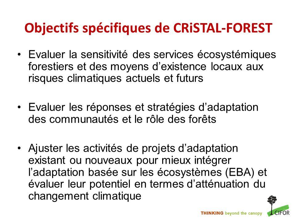 THINKING beyond the canopy Objectifs spécifiques de CRiSTAL-FOREST Evaluer la sensitivité des services écosystémiques forestiers et des moyens dexiste