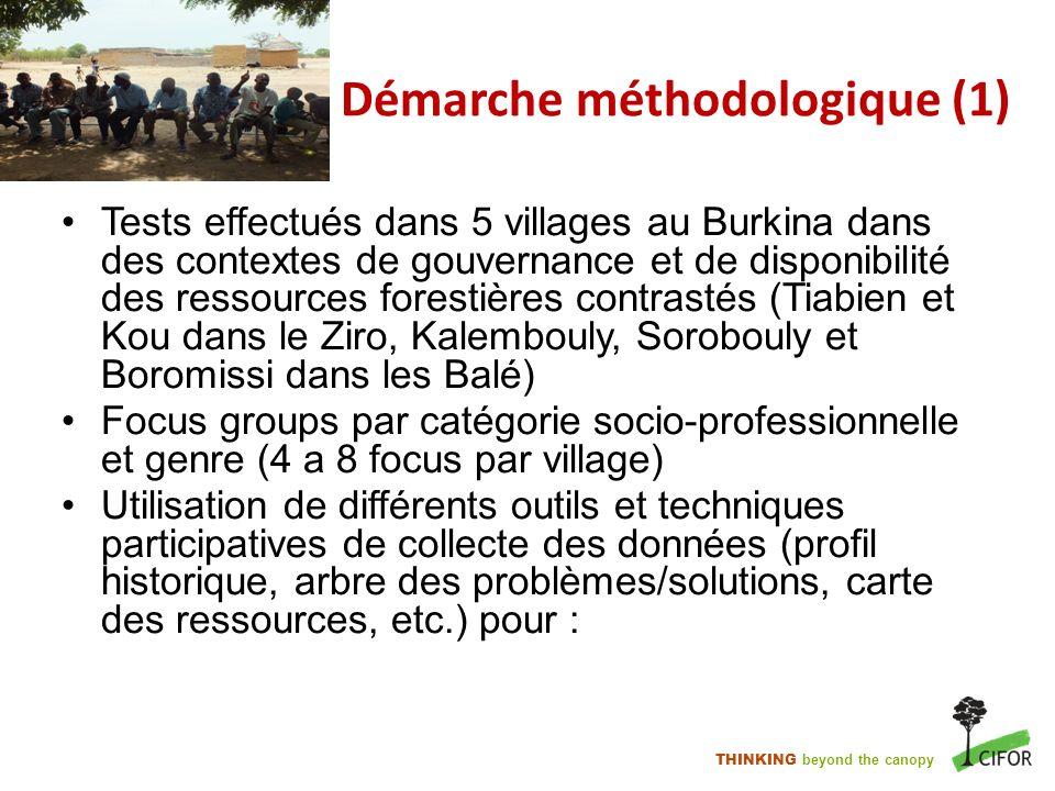 THINKING beyond the canopy Démarche méthodologique (1) Tests effectués dans 5 villages au Burkina dans des contextes de gouvernance et de disponibilit