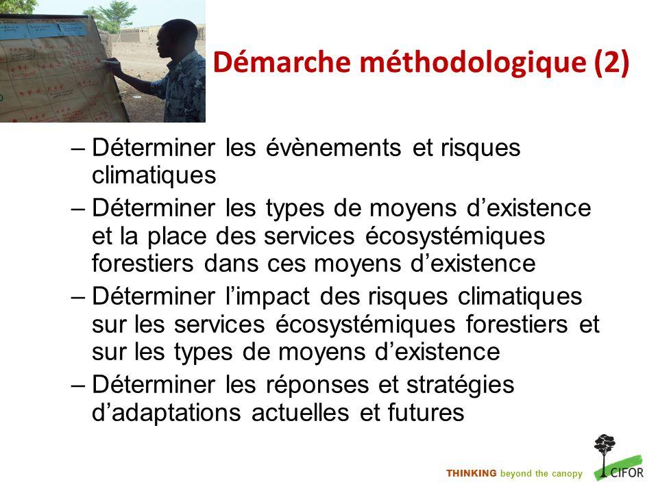 THINKING beyond the canopy Démarche méthodologique (2) –Déterminer les évènements et risques climatiques –Déterminer les types de moyens dexistence et