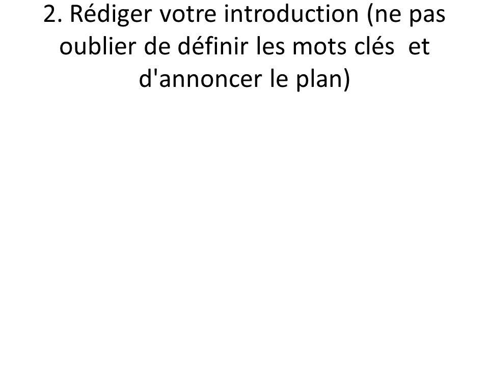 2. Rédiger votre introduction (ne pas oublier de définir les mots clés et d'annoncer le plan)