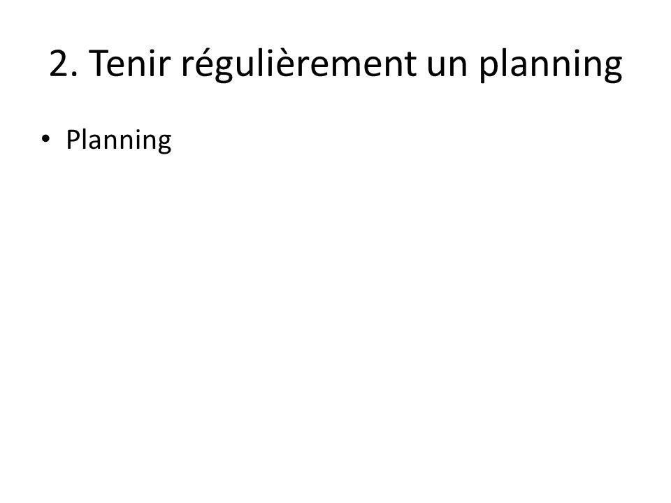 2. Tenir régulièrement un planning Planning