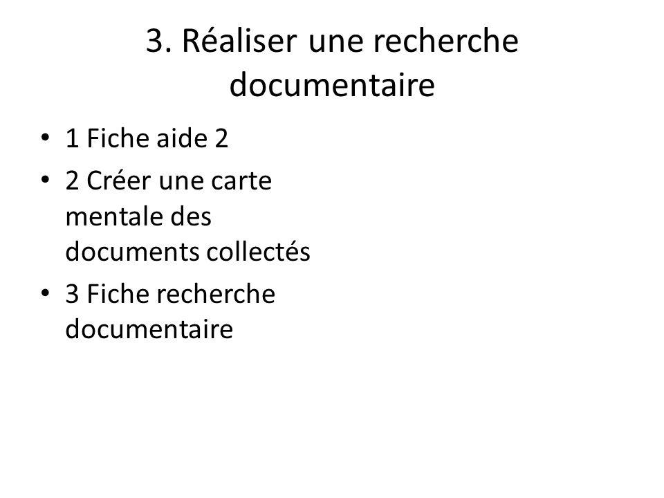3. Réaliser une recherche documentaire 1 Fiche aide 2 2 Créer une carte mentale des documents collectés 3 Fiche recherche documentaire
