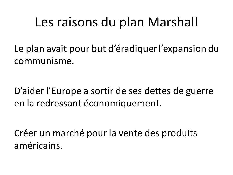 Les raisons du plan Marshall Le plan avait pour but déradiquer lexpansion du communisme.