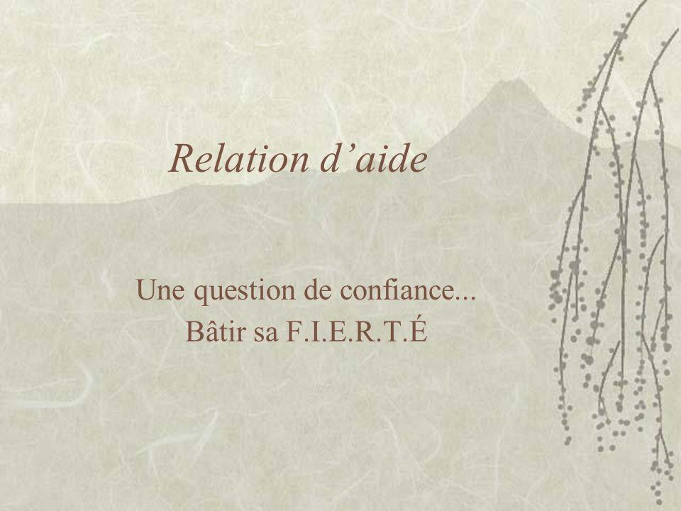 Relation daide Une question de confiance... Bâtir sa F.I.E.R.T.É