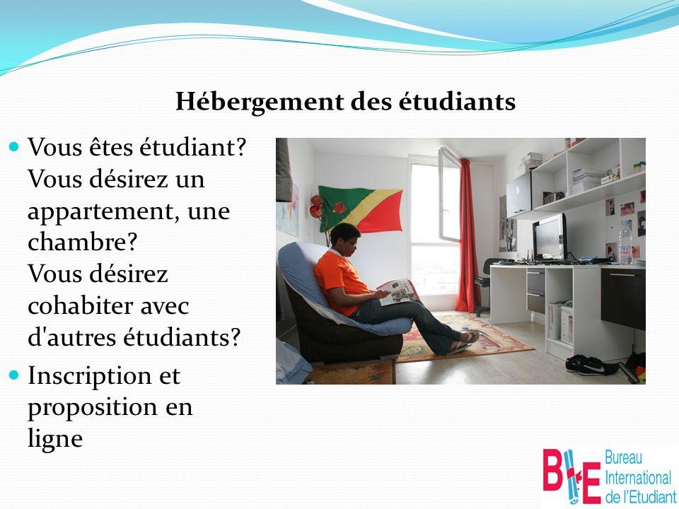 Hébergement des étudiants Vous êtes étudiant. Vous désirez un appartement, une chambre.
