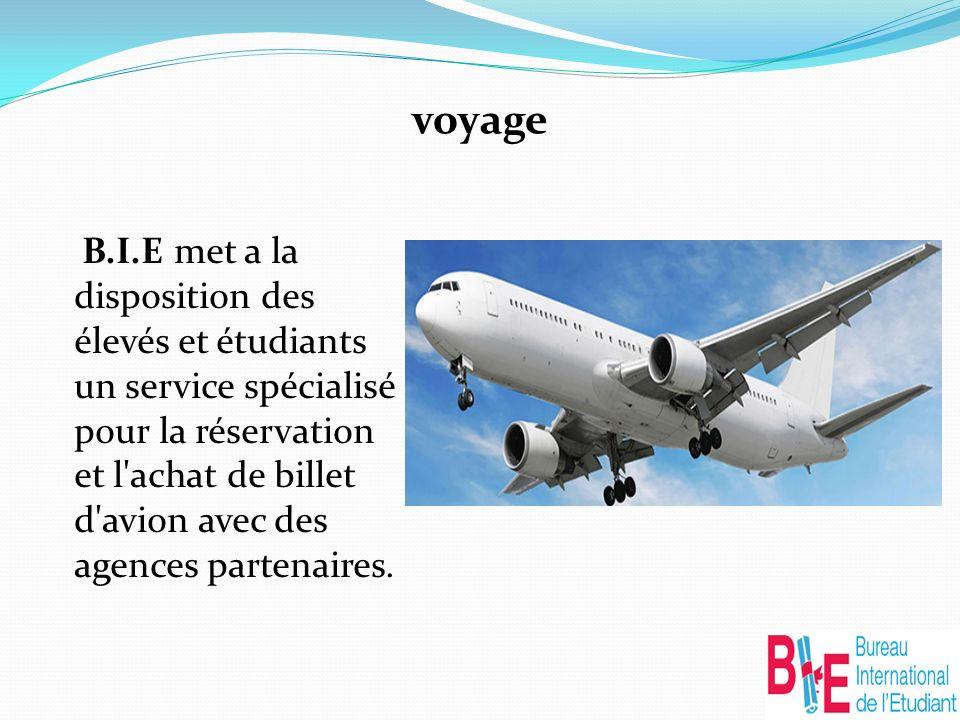 voyage B.I.E met a la disposition des élevés et étudiants un service spécialisé pour la réservation et l achat de billet d avion avec des agences partenaires.